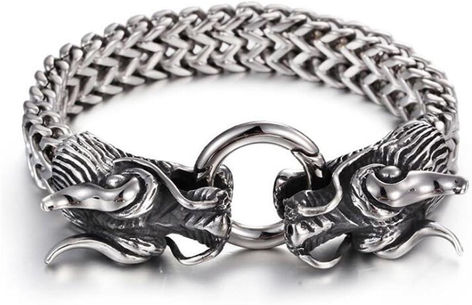 316L Stainless steel Biker Gothic dragon End Open Cuff bangle Bracelet 86g