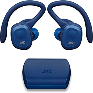 JVC HA-ET45TA - Auriculares deportivos verdaderamente inalámbricos, soporte de oído dual con gancho desmontable, 14 horas de duración total de la batería con funda de carga, impermeable IP55 (azul)
