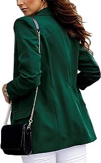 Blazer para Mujer Elegante Mangas Largas Cardigan Chaqueta de Traje Corte Slim de Negocio Oficina Color Sólido