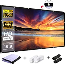Projector Screen RELEE Video Screen 120 Inch 16:9 HD Widescreen Foldable Anti-Crease Portable Projector Movies Screen Wall Mount for Home Theater Support Double Sided for Outdoor and Indoor