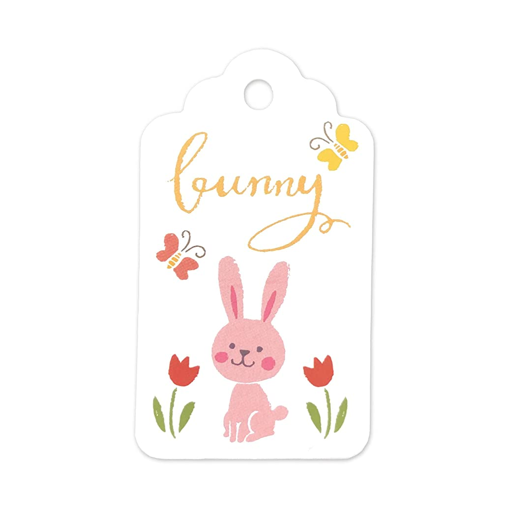 LWR Crafts 100 Hang Tags Scalloped Top with Cotton Strings 66ft for Holiday (Easter Bunny)
