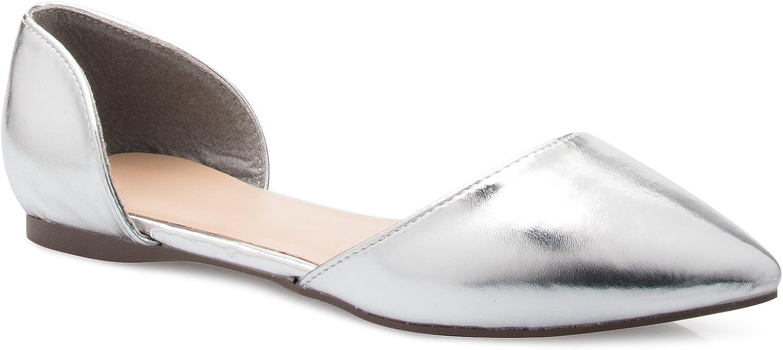 OLIVIA K Women's D'Orsay Pointed Toe Fashion Ballet Flat
