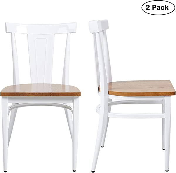 Dining Room Chairs Set Of 2 Wood Seat And Metal Leg Heavy Duty Modern Side Chairs For Kitchen Restaurant Cafe Ergonomic Design White