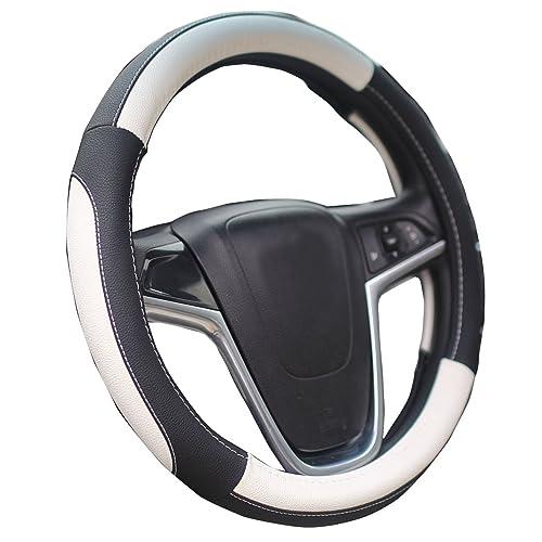 Mayco Bell Coche Fundas Para Volante 38cm Comodidad Durabilidad Seguridad (Negro Blanco)