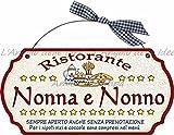 Targa sagomata RISTORANTE NONNA NONNO.. casa idea regalo made in italy Fuoriporta