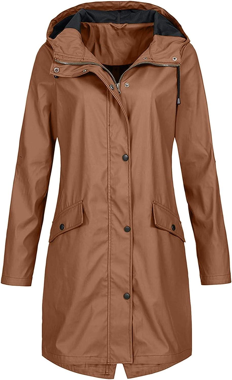 VEKDONE Women Plus Size Raincoats Windbreaker Long Rain Jacket Lightweight Hooded Waterproof Outdoor Mountain Jackets