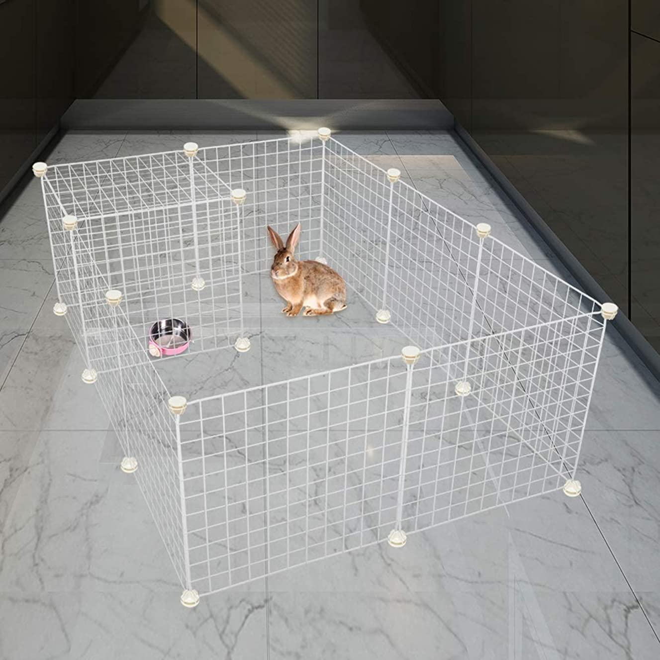 EXPAWLORER Puppy Playpen Indoor for Small Animals - 12 Panel Playpen Portable Metal Wire Yard Fence for Puppy, Cat, Guinea Pigs, Rabbits