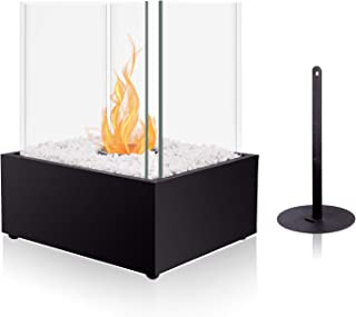 BRIAN & DANY Ventless Cube XL Tabletop Fireplace Somkeless Clean Indoor Outdoor Fire Pit Portable Fire Bowl Pot Bio Ethanol Fireplace in Black w/Fire Killer and Pebbles
