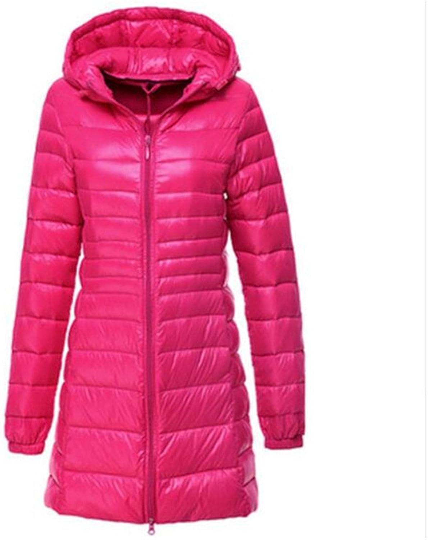 Women's Eiderdown Slim Parkers Long Hooded XL Lightweight Coat