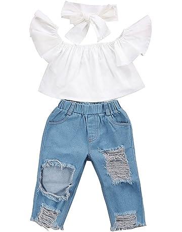 1aee5b4bb85bf ファッションかわいい人気な赤ちゃん幸運な太陽オフショルダークロップトップス+ホールデニムパンツ
