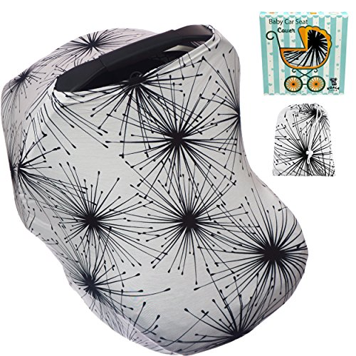 Carseat Covers for Babies Boys or Girls - Infant Car Seat Nursing Breastfeeding Cover Ups - Cozy Baby Carseats Carrier Canopy. Gifts for Moms! Black White