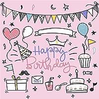 LFEEY 5x5フィート カートゥーン 絵画 1歳の誕生日 写真 背景 風船 カップケーキ クラウン 星 子供 女の子 男の子 赤ちゃん 最初のケーキ スマッシュパーティー 写真 背景 ピンク 写真スタジオ小道具
