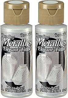 2-Pack - DecoArt Dazzling Metallics Acrylic Colors - White Pearl, 2-Ounces Each