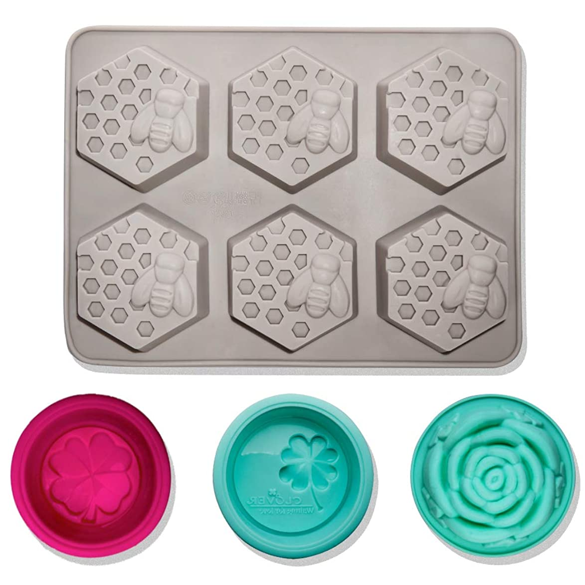 4 pcs Silicone Soap Molds, CNYMANY 3D Bee Honeycomb Shape Muffin Mould Kitchen Pastry Baking Pan for Candle Cake Jello Bath Bomb Candy Cupcake - Grey xvm883206272062