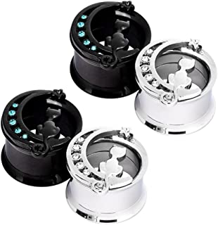 Stainless Steel Black Silver Cat on The Moon Ear Expander Piercing Tunnels Gauge 0g-16mm