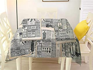 L'sWOW Square Tablecloth Outdoor Antique Vintage Style Sepia Toned Newspaper Print with Old Fashioned Illustrations Dark Green Beige Patio 60 x 60 Inch