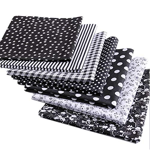MQOUNY Cotton Craft Fabric Bundle Patchwork,7pcs 20-inch Quilting Sewing Patchwork Fabric Fat Quarter Bundles Fabric for Scrapbooking Cloth Sewing DIY Crafts Pillows (Black Series)