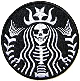 Graphic Dust Halloween Funny Dead Skull Mermaid Zombie Skeleton Embroidered Iron On Patch Logo Costume Cosplay Black