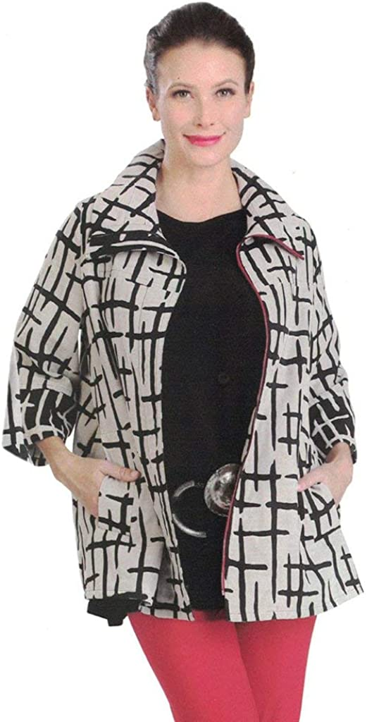 IC Collection Crosshatch-Print Zip Front in store Tulsa Mall Jacket Cream Black -