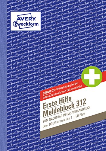 AVERY Zweckform 312 Erste Hilfe Meldeblock nach DGUV Information 204-020 (A5, 50 Originale, Verbandbuch zur Dokumentation von Unfällen/Hilfeleistungen im Betrieb, von Rechtsexperten geprüft)