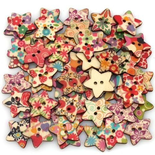 Star Shaped Painted 2 Hole Wooden Buttons 25mm x25mm (Pack Of 25pcs) by iWorldApparel