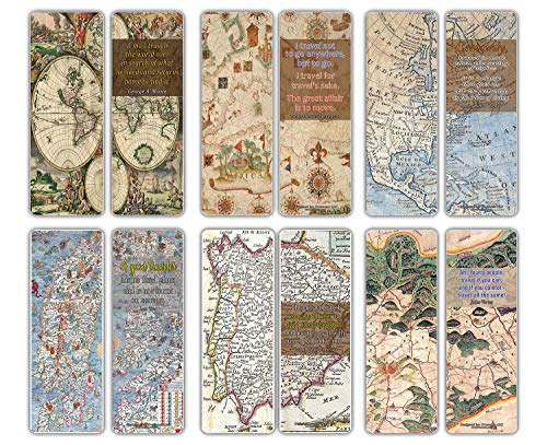 Creanoso Vintage Map Bookmarks (12-Pack) – Historical Illustrations Map Art – Antique Traveler's Road Sayings Reading Gift