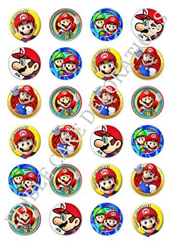 24x Tortendekoration aus Esspapier mit Super-Mario-Motiv, für Cupcakes, Kuchen, Geburtstag, Feiern