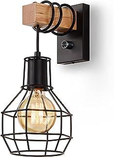 Glighone Applique Murale Intérieur Industrielle, Vintage Abat-jour Cage Dimmable avec interrupteur Luminaire Murale, E27 M...