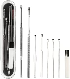 8 Pcs Ear Pick,MUIIGOOD Earwax Removal Kit Ear Cleansing Tool,Ear Curette with Storage Box and Cleaning Brush