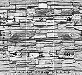 Fototapete Stein 3D 274 x 254 cm inklusive Kleister Steinwand Schwarz Weiß Weiss Mauer Ziegel Tapete - 4