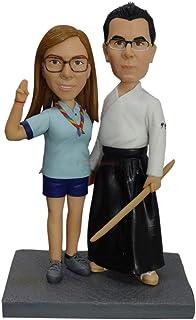 Statua di testa personalizzata kungfu karate figurine di nozze Bambole bambole su misura Figurine di karate per cake toppe...
