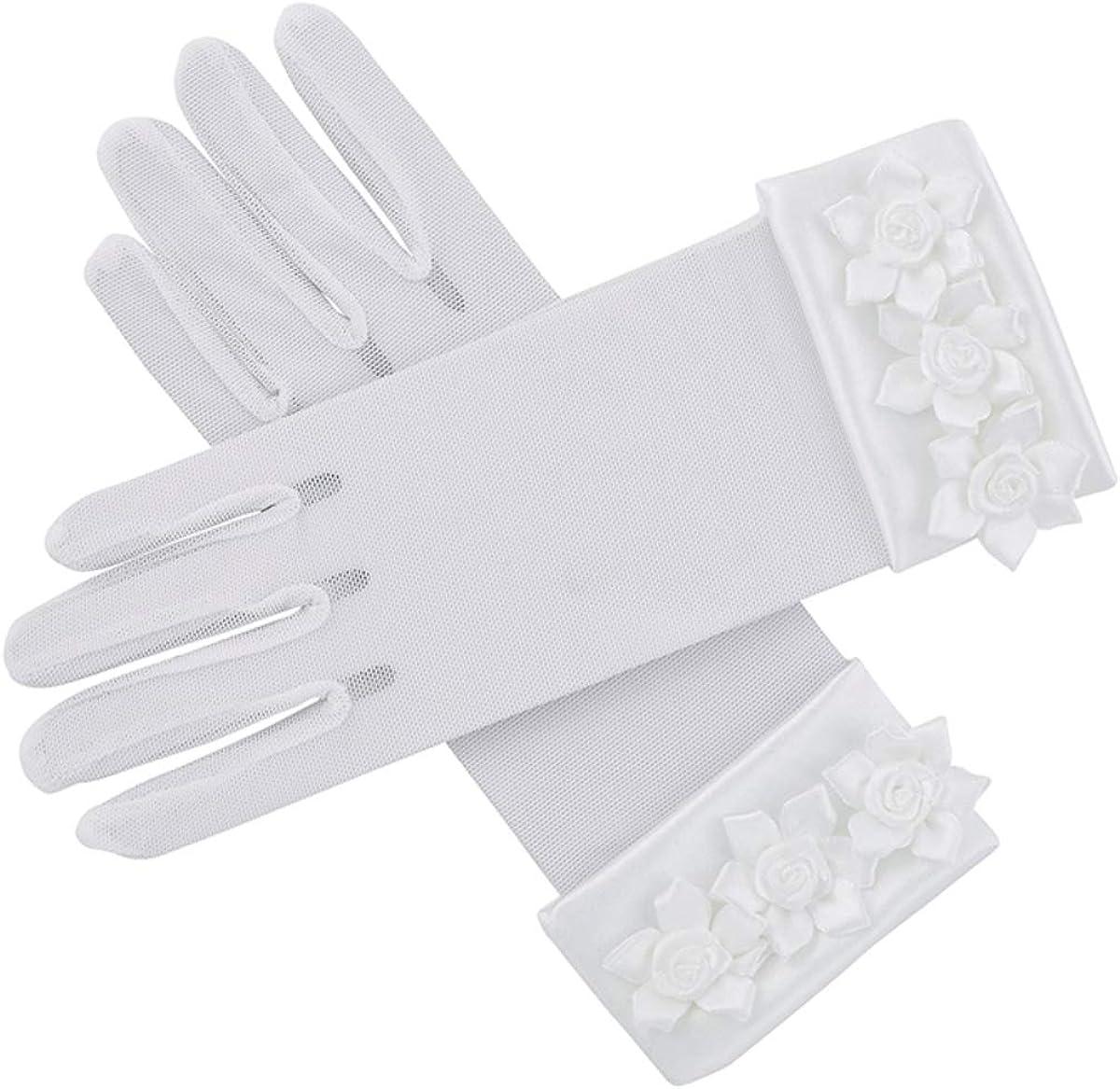 Girl's White First Holy Communion or Flower Girl Gloves with Rosebuds, Medium