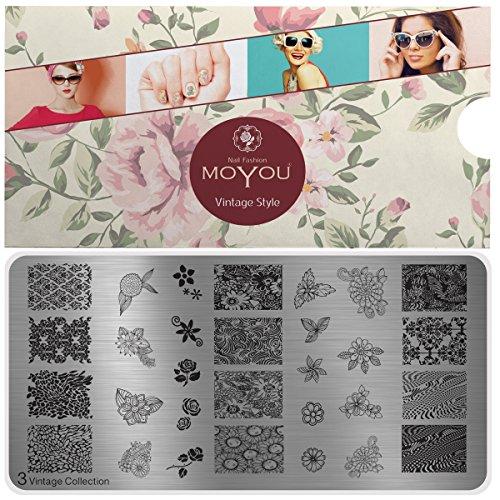 MoYou's XL Vintage 3 Stamping Schablone, Nail Art Stampling - Nagel Lack Stempel, voller Nagel und Blumen Maniküre