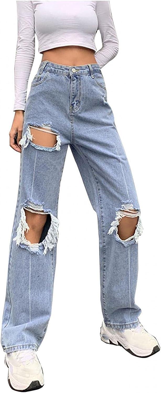 Y2K Fashion Jeans,Women Ripped Jeans High Waisted Cutout Baggy Straight Wide Leg Pants Fashion Denim Y2K Streetwear