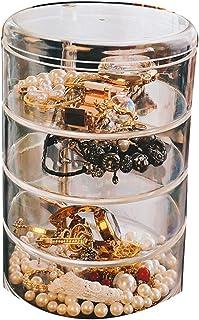 صندوق تخزين منظم مجوهرات قابل للدوران من 4 طبقات، درج تخزين إكسسوارات المجوهرات للنساء مع غطاء، حقيبة تخزين أسطوانية صغيرة...