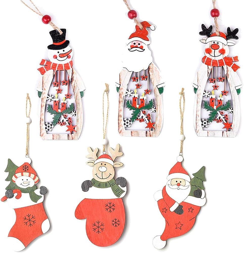 6 pezzi ornamenti natalizi in legno da appendere addobbi albero REYOK