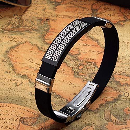 WDAIJY Pulsera De Hombre,Pulsera De Moda Los Hombres De Acero Inoxidable Silicona Caucho Cuero Broche Charm Bracelet para Hombres Regalo De Joyería