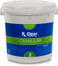 Rx Clear Stabilized Granular Chlorine | One 8-Pound Bucket | Use As Bactericide, Algaecide, and Disinfectant in Swimming Pools and Spas | Slow Dissolving and UV Protected