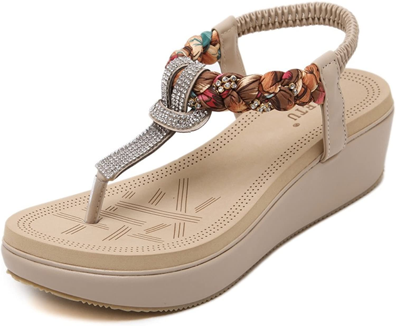 Women's New Summer Beach Elastic Elastic Sandals Rhinestone Wedges Solid color Sandals ZHHZZ