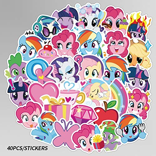 ZZHH 40Pcs pony Not repeating Cute Cartoon Stickers Skateboard Motorcycle Luggage Laptop Guitar Notebook Sticker Toy
