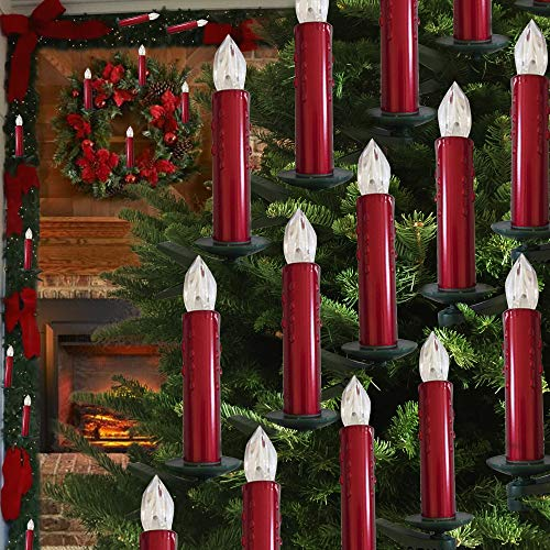 Hoolees'LED Christmas Tree Candles, LED Flameless Candle Lights, TUV Listed Wireless LED Candles, Wireless, Candle Christmas Tree Candles, Remote Control, and Clips-on. (Shiny Red with Drops)
