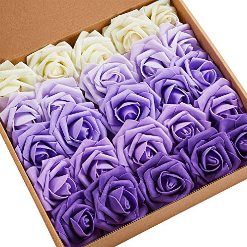 N&T NIETING Artificial Flowers, 25pcs Real Touch Gradient Purple Artificial Foam Roses Decoration DIY for Wedding Bridesmaid Bridal Bouquets Centerpieces,, Home Display