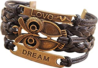 Nobio Retro Vintage Handmade PU Leather Bracelet Wristlet Bangle Wrist Band Hand Chain Charm