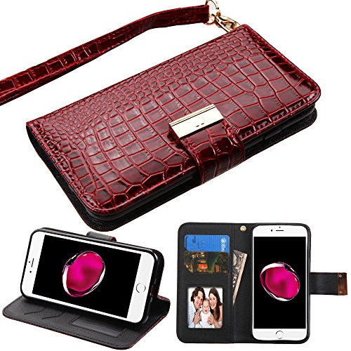 Case+Tempered_Glass PU Leather Purse Clutch Wallet Fits Apple iPhone 7/8 (Also Fits iPhone 6/6S) MYBAT MyJacket Burgundy Crocodile-Embossed with a Built-in TPU Skin Snap on