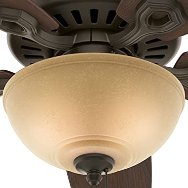 """Hunter Builder Deluxe Indoor Ceiling Fan with LED Light and Pull Chain Control, 52"""", New Bronze"""