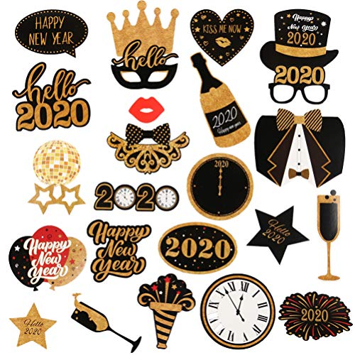 Amosfun 2020 New Years Party Photo Booth Props Glitter Hello 2020 Photo Props Selfie Props Celebration Party Favor voor New Year Eve Party benodigdheden 28 Stks