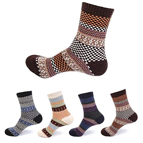 bec734eddcb 4 Pairs Men Women Winter Woolen Socks - Thermal Knitting Wool Blend