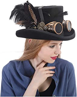 JAUROUXIYUJIN New Festival Costume Set Men Women Black Hat with Goggles Steampunk Top Hat Victorian Wedding Tophat Burning Men Cosplay Nutcracker Festival Hat (Color : Black, Size : 57CM)