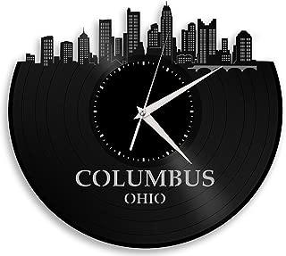 VinylShopUS - Columbus Ohio Vinyl Wall Clock Cityscape Retro Decor