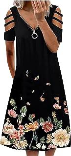 MEALLING Sommerkleid Damen Kurzarm Kalte Schulter Sexy V-Ausschnitt Elegante Reißverschluss Kurze Strand Freizeitkleider ,Lose Party Kurze Kleider Strandkleid Minikleider Boho Knielang Kleid